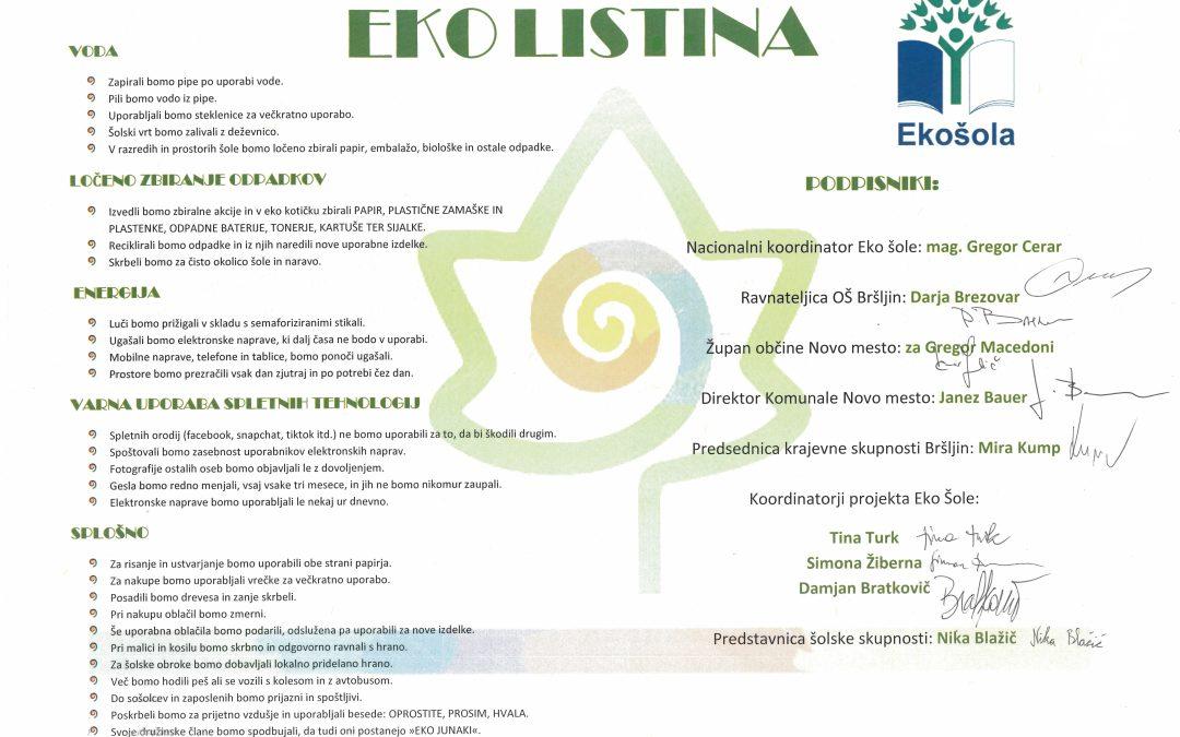 Podpis eko listine na OŠ Bršljin